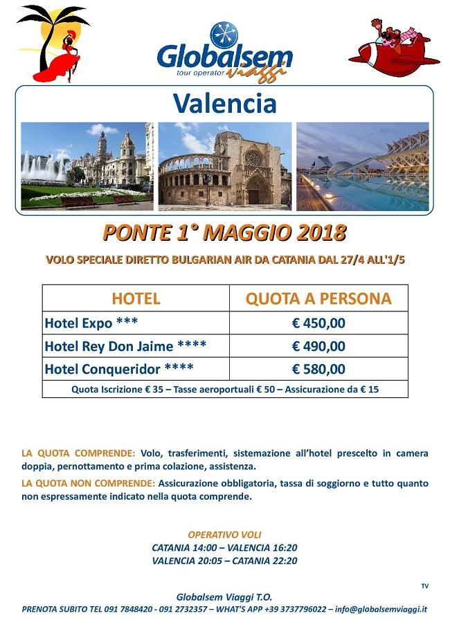 1 MAGGIO 2018 VALENCIA Hotel e VOLO da CATANIA