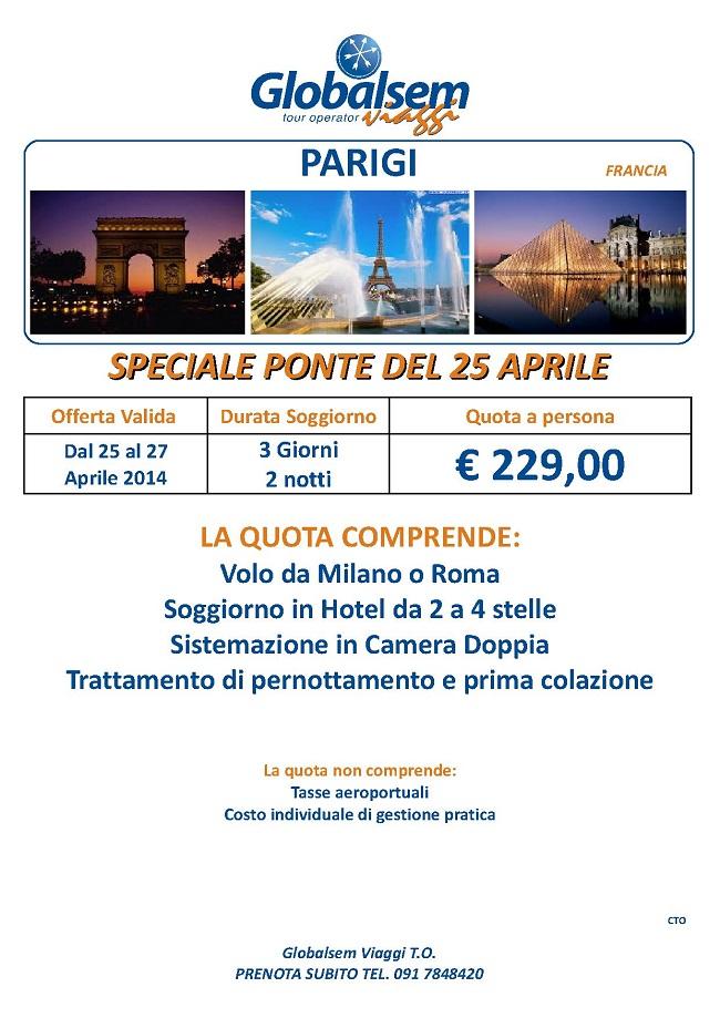 25 Aprile 2014 a Parigi Offerta