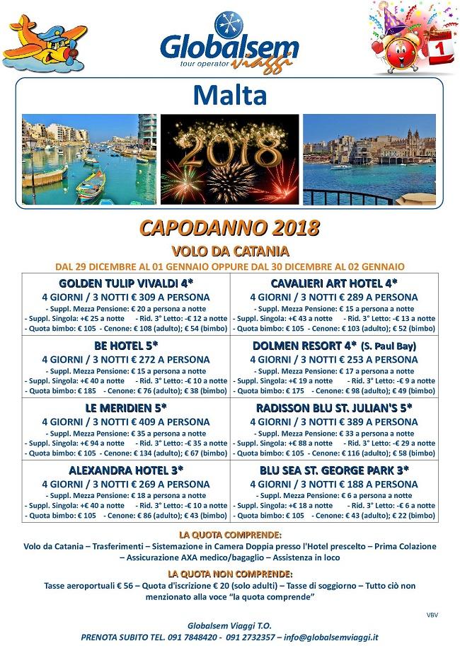 CAPODANNO 2018 MALTA Hotel e VOLO da CATANIA