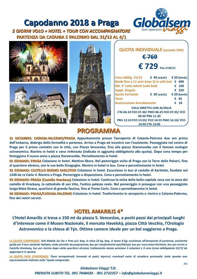 CAPODANNO 2018 Tour PRAGA da CATANIA e PALERMO