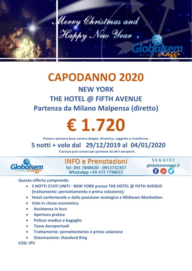 CAPODANNO 2020 al Hotel Fifth Avenue a NEW YORK