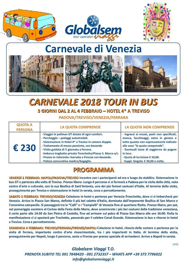 CARNEVALE di VENEZIA 2018 Tour BUS da NAPOLI