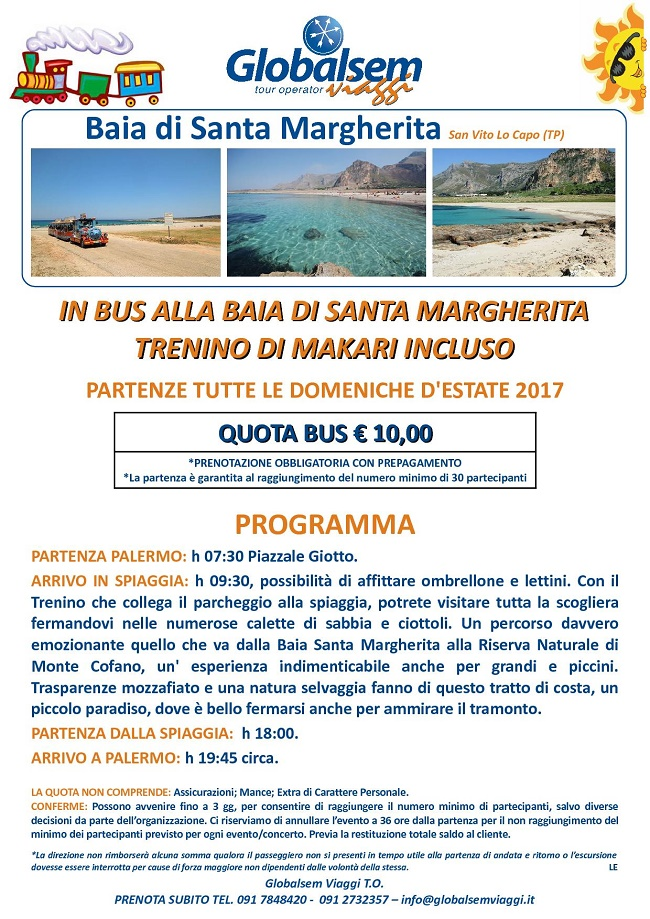 gita estate 2017 bus santa margherita trapani da palermo
