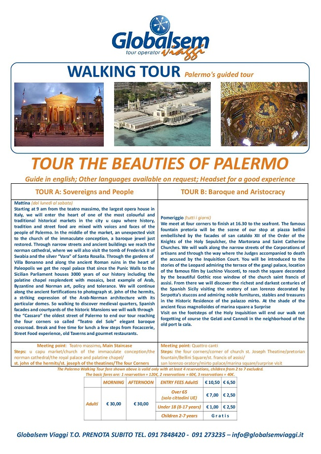 Palermo's GUIDED Tour EXCURSION 1 Day