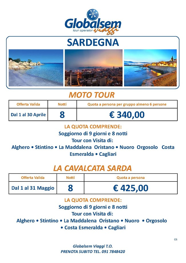 Sardegna Tour Aprile Maggio Offerta