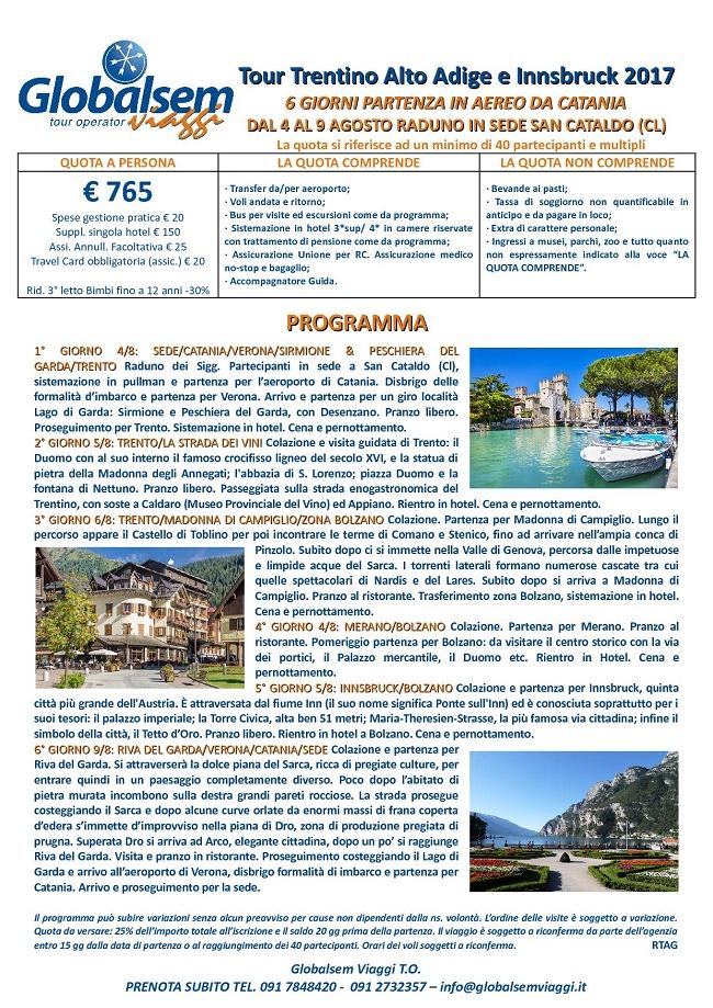 TOUR Agosto 2017 TRENTINO Alto ADIGE e INNSBRUCK aereo da CATANIA