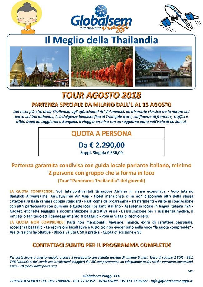 TOUR Agosto 2018 Il MEGLIO della THAILANDIA Volo da MILANO