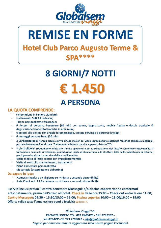Remise en Forme Soggiorno HOTEL CLUB PARCO AUGUSTO TERME & SPA**** (ME)